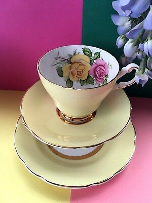 Vintage Harleigh Bone China, Lemon Tea Set Trio,Teacup, Saucer & Tea Plate