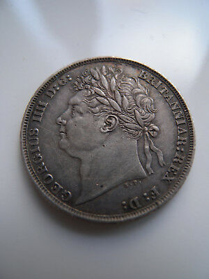 SCARCE 1821 SHILLING GEORGE IV Silver S.3810 CHOICE TONED EF
