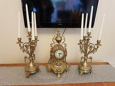 Antique Vintage Three Pieces Brass Set Clock Mantel and Candlesticksi