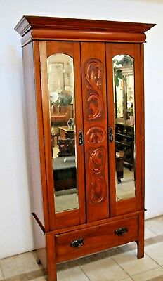 Antique Armoire Wardrobe Closet Mirrored Beveled Doors Bottom Drawer Carved Wood