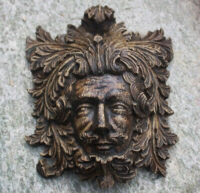 Wonderful CARVED OAK PORTRAIT of THE GREEN MAN, Victorian Gothic Medieval carvin
