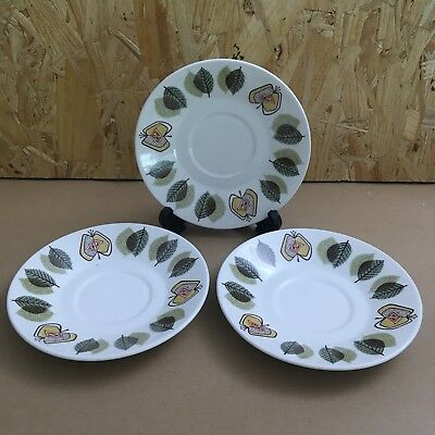 3 x Retro J G Meakin Studio Saucers - Apples and Leaves