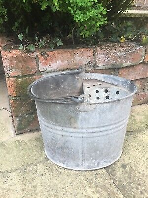 Vintage galvanised mop bucket,  garden planter,  feature decor
