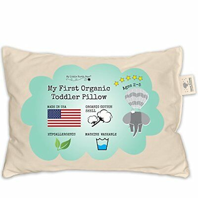 Toddler Pillow- ORGANIC Cotton MADE IN USA - Washable Unisex Kids Pillow- 13x18