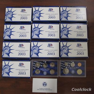 10 Pc Lot 2003 United States Mint Proof Sets & 50 State Quarters Sets in Box T71