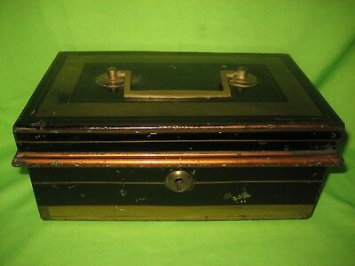 Vintage Cash Tin / Metal Bankers Box  With Removable Coin Tray