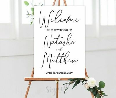 Personalised Welcome To Our Wedding Sign Un-Backed -A3 A2 A1-Black White