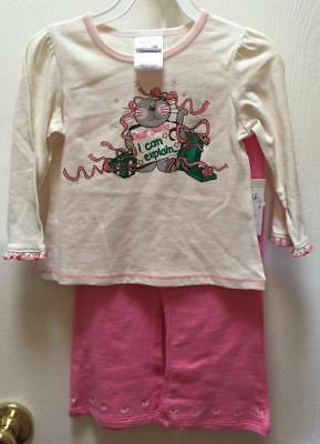 Christmas Baby Girl Pink Outfit Shirt Pants 2pc. 18 Mo. SANTA I can explain NWOT