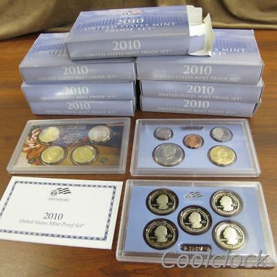 7 Pc Lot 2010 United States Proof Sets Presidential Proof Quarter in Boxes #Y283
