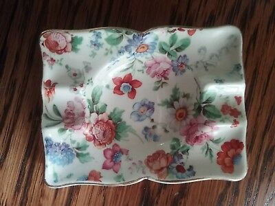 "Dorset Cheery Chintz Erphila Germany Small 3""Rectangular Ashtray/ Ring catch"