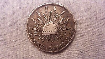 1833 Zs OM Mexico 8 Reales Silver Coin