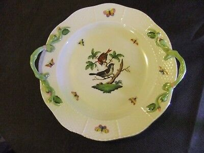 Herend Rothschild Bird Large Serving Plate, Rose Vine Handles in Mint Condition