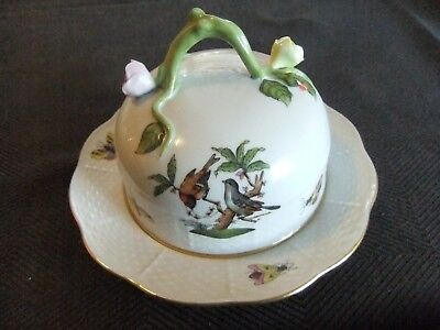 Herend Rothschild Bird Butter Container with Rose Vine Finial in Mint Condition