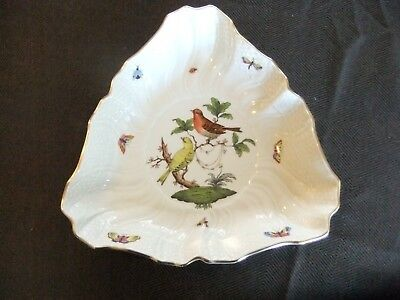Herend Rothschild Bird Triangular Salad, Serving Bowl in Mint Condition 1191/RO