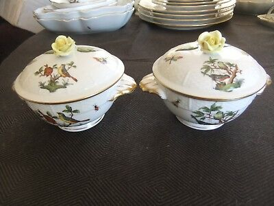 Herend Rothschild Bird Lidded Cream Soup Bowls x 2 in Mint Condition with Hand
