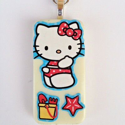 """Domino Hello Kitty at the Beach Pendant & 13"""" Blue Metal Chain Necklace Jewelry"""