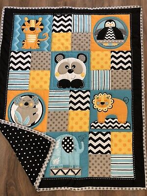 HANDMADE Circus Animal Babies QUILT Baby Toddler 34 X 42 NEW Hand Quilted