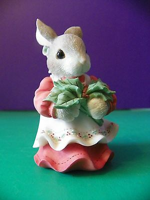 "1998 Enesco My Blushing Bunnies ""Have a Berry Happy Holly-Day"""