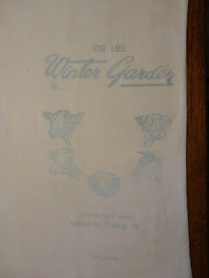 "Vintage 1951 Cotton ""Winter Garden"" by Lone Star Feed Sack ""Meat Sheet"""
