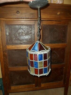 Antique Vintage Arts & Crafts Porch Light Leaded Stain Glass Panels  8 Sided
