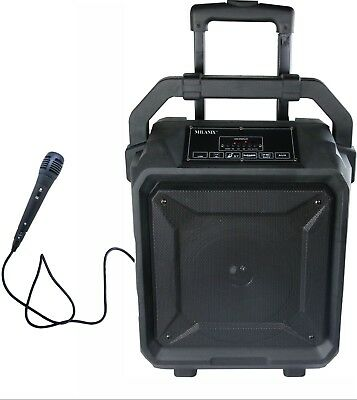 Bluetooth Karaoke Machine System w/ wired Microphone, Guitar In, USB, SD, FM