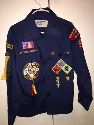 BSA Cub Scout Boys Shirt Long Sleeve Patches Size 10 (1st Grade) Tiger Seattle