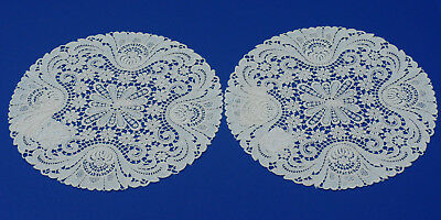 NEW Pair of Schiffli Lace ROUND 100% Cotton Doily Mat Made in Germany