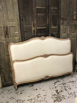 Stunning French Recovered, Natural Light Wood King Size Bed, Antique, Vintage