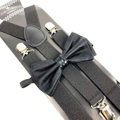 Metallic Gold Bow Tie /& Matching Suspenders Set Tuxedo Wedding Prom Youth Men