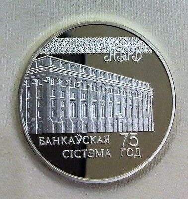 BELARUS 20 ROUBLES 1997, SILVER PROOF, 75th Anniversary - Banking System,