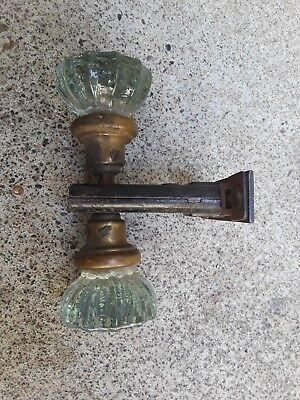 Antique Victorian 12 Point Crystal Glass Doorknob Set Brass Knobs with latch