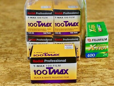 Lot of 5 Kodak Professional T-Max 100 Black & White Negative Film (35mm, 36 exp)