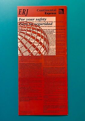 Continental Airlines Safety Card--Erj