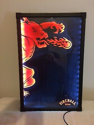 Rare Fireball Whisky Devil Taste Like Heaven Burns Like Hell Lighted Mirror Sign