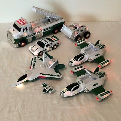 Hess Large Lot Trucks Cars Airplanes Planes 7 Pieces Sound Lights