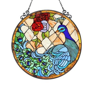 Stained Glass Peacock & Rose Round Window Panel Handcrafted Tiffany Style  24""