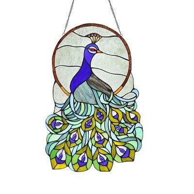 "Stained Glass Peacock Window Panel Handcrafted Tiffany Style 15"" x 24"""