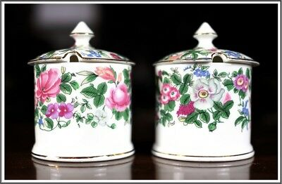 Antique Crown Staffordshire Fine Bone China England Pagoda 2 Sugar Bowl w/ Lid