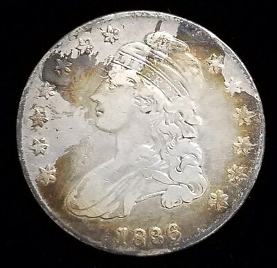 1836 Capped Bust Half Dollar 50c Coin Lettered Edge F-VF Details