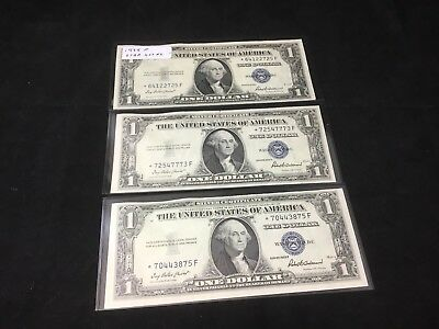 Lot of 3 - 1935 F Star Notes- One Dollar Silver certificates