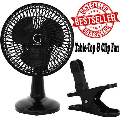 Clip-On Fan 6inch Portable Oscillating Small Table Desk Fan Swivel Quiet 2 Speed