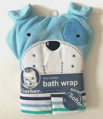 GERBER Baby Terry Hooded Towel Bath Wrap Blue Puppy Dog Brand New