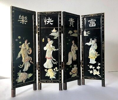 Antique Oriental Screen Black Lacquered Mother of Pearl Ladies Flowers