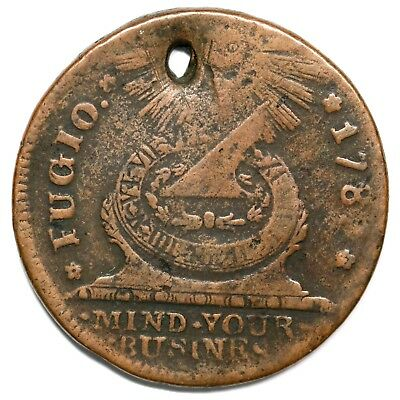 1787 17-S.1 R-5 Holed Fugio Colonial Copper Coin