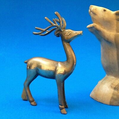 Brass Figurine / Ornament - Deer Stag with Antlers - 11cm Tall