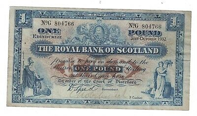 Early Date 1932 Royal Bank Of Scotland £1 Banknote P321