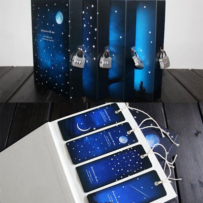 Romantic Blue Night Sky Box Packed Blank Journal Diary Note Book With Lock Home