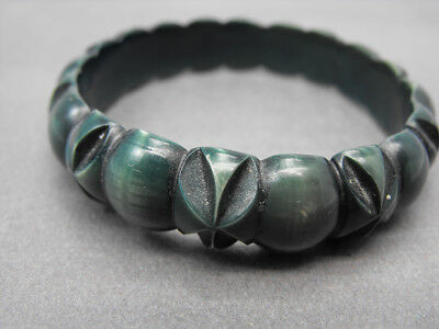 Vintage Bangle Bracelet Carved Celluloid Plastic  Dark Blue Green