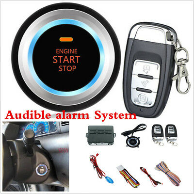 Car Auto Audible alarm Engine Push One Button Starter Audible Alarm With Remote