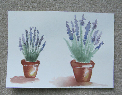 WATERCOLOUR card HAND painted LAVENDER PLANTS garden ART craft HOBBY purples DIY